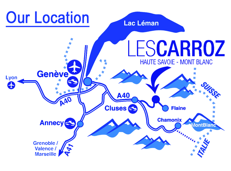 Map showing the location of Chalet Ascensus in Les Carroz, Grand Massif, France, relative to Geneva
