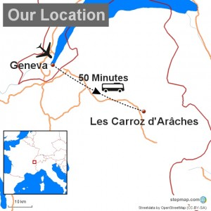 A map showing Chalet Le Palane the comfortable catered chalet Les Carroz and the proximity of Geneva Airport . Ascensus Ski.